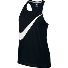 Women's Nike Prep Swoosh Racerback Workout Tank ($22) ❤ liked on Polyvore featuring activewear, activewear tops, black and white, nike activewear, nike and nike sportswear
