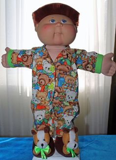 Cabbage Patch Doll cloths - Teddy Bear Pj's and Teddy Bear Slippers - size 16