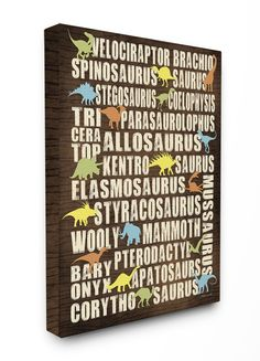 Dinosaurs Typography Chart Stretched Canvas Art