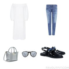 Clothing Selection Including Tibi Dress Skinny Fit Jeans Mother Of Pearl Flats And Purse Satchel From October 2016 #outfit #look