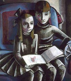 Jeanne Mammen (German, 1890 – Two reading kids (Zwei Kinder lesend), 1936 Oil on canvas, 102 x 87 cm Karl Hofer, Hans Thoma, Ludwig Meidner, Gottfried Helnwein, Kathe Kollwitz, George Grosz, New Objectivity, Art Eras, Berlin City