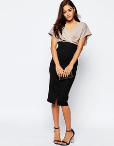 Image 4 ofASOS Contrast Blouson Sleeve Midi Pencil Dress