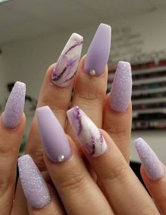 Purple Acrylic Nails, Acrylic Nails Coffin Short, Blue Nail, Summer Acrylic Nails, Best Acrylic Nails, Purple Nails, Acrylic Nail Designs For Summer, Coffin Nails Glitter, Pink Coffin