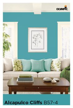 Since the living room is used for entertaining friends and family, it should reflect you and your tastes. Choose a style that is distinctively yours. Love the outdoors? Choose a color palette inspired by the seaside cliffs in Acapulco, Mexico. Learn more about this aqua paint color http://www.olympic.com/color/paint-colors/acapulco-cliffs-b57-4