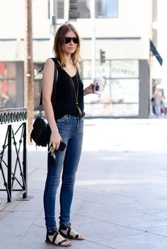 Tank tucked into some skinny jeans with sandals. Effortlessly chic.