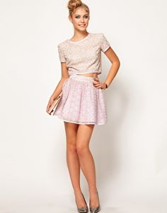 Obsessed with matching skirt sets.  Lashes Of London Skater Skirt in Metallic Lace