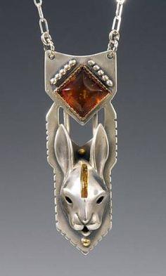 Brooke Stone handcrafted animal totem jewelry, Silver Rabbit Jewelry, Rabbit totem