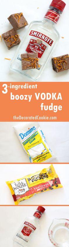boozy vodka fudge shots, chocolate with orange zest, 3-ingredients!