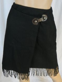 """DAVID N"" WOOL BLEND BLACK FULL WRAP SKIRT - PLEASE SEE ALL PICTURES #DAVIDN #WrapSarong"