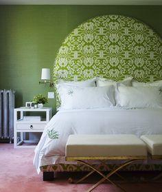 Green bedroom + ikat headboard by Philip Gorrivan by xJavierx, via Flickr