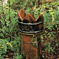 Chimney-Pot Pedestal    Focus attention on a prized plant by placing it in the crown of a terra-cotta chimney pot, such as this salvaged octagonal one. You can also convert one to serve as a dramatic landscape uplight by placing it over a low-voltage fixture.