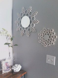Cut PVC pipe and glue together with small mirrors