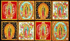 Inner Faith Our Lady of Guadalupe 100% COTTON fabric by the panel approx 24 x 44 #RobertKaufmanFabrics