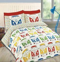 Duvet Quilt Cover Bedding Set w Pillowcase Camper Mini Van Polka Dots All Sizes Volkswagen Bus, Bed Covers, Duvet Cover Sets, Combi Hippie, Kombi Trailer, Caravan, Kombi Home, King Duvet Set, Combi Vw