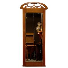 Swedish Jugend Art Nouveau Mahogany Pier Mirror | From a unique collection of antique and modern pier mirrors and console mirrors at https://www.1stdibs.com/furniture/mirrors/pier-mirrors-console-mirrors/