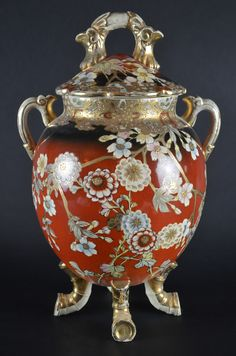 VISIT US! Antique Japanese Fine China Nippon Porcelain Ginger Jar Rust Red Gold Gilding Floral Made in Japan  #Nippon #gingerjar #antiques