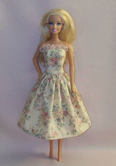 Handmade Barbie Doll Clothes Beige Floral by PersnicketyGrandma, $4.00