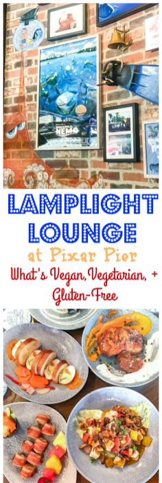 Lamplight Lounge Food Guide: What's vegetarian, vegan, gluten-free, and allergy friendly - Pixar Pier food Disneyland Restaurants, Disneyland Food, Disneyland Hotel, Disneyland California, Disney California Adventure, Disney World Tips And Tricks, Disney Tips, Disney Food, Disney Parks