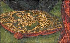 15th cent Spanish Cushion - Hacia 1480. La virgen y los pretendientes, Pedro Berruguete, Iglesia de Santa Eulalia, Paredes de Nava, Palencia (detalle)
