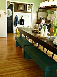 { Farmhouse Dining Room } love the aqua benches for extra color