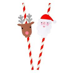 A pack of colorful party straws with Santa and Reindeer decorative toppers embellished with silver glitter. Pack of 24 straws and 24 toppers in 2 styles.Pack size: 3 x 8 x 1 inches. Christmas Party Games, Christmas Party Decorations, Christmas Mood, Kids Christmas, Christmas Decor, Outdoor Christmas, Xmas, Holiday Decor, Pinwheel Decorations