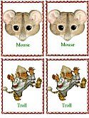 Matching Animals Game mouse and troll - and other Jan Brett animals