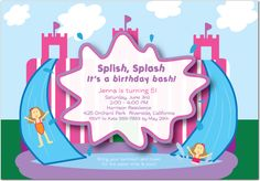 Girls Water Slide Birthday Party Invite http://www.invitationcelebration.com/cart/the_princess_slide_details.php