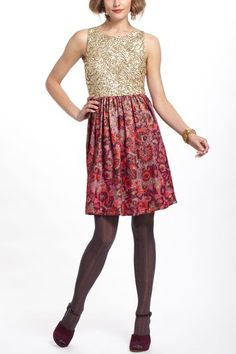 Anthropologie Sequined Jacquard Dress - Lyst