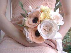 Felt Bride Bouquet Wedding Bride's Flowers Felt by TwiningVines Bride Flowers, Bridesmaid Flowers, Bride Bouquets, Felt Flowers, Fabric Flowers, Wedding Flowers, Bouquet Wedding, Blush Bouquet, Peach Blush