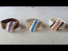 Dear Diamond Ring Beading Tutorial by (with superduo beads) Diy Beaded Rings, Diy Rings, Beaded Bracelets, Seed Bead Jewelry, Bead Earrings, Handmade Rings, Handmade Jewelry, Ring Tutorial, Beaded Jewelry Patterns