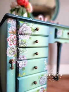 The NEW Dixie Belle Transfer Line | Brushed By Brandy Floral Furniture, Decoupage Furniture, Paint Furniture, Furniture Makeover, Furniture Ideas, Painted Baby Furniture, Whimsical Painted Furniture, Green Furniture, Furniture Refinishing