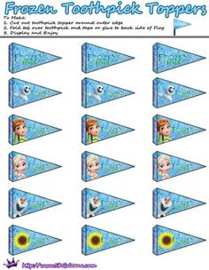 Tooth Pick Toppers | Frozen Fever Free Printables and Crafts | SKGaleana