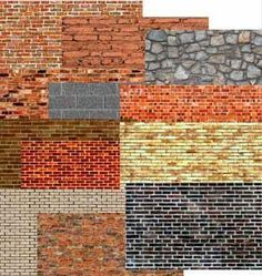 free printable Ho Texture   Print all of the brick paper you need for your model train, doll house ...