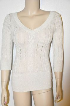 Sexy Off White lurex Knit Sweater top V-neck Fitted Sweater top Xs White black #WhitehouseBlackhouse #KnitTop #Casual