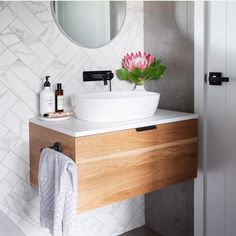 Keep it simple, but significant ✨ This is the guest/powder room at our recentl. Keep it simple, but significant ✨ This is the guest/powder room at o Floating Bathroom Sink, Floating Vanity, Boho Bathroom, Bathroom Colors, Bathroom Sets, Bathroom Interior, Small Bathroom, Downstairs Bathroom, Shower Storage