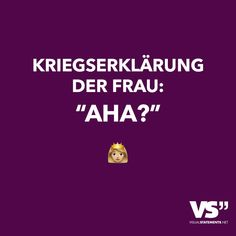 "Kriegserklärung der Frau: ""Aha?"""