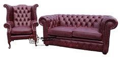 Chesterfield 2 Seater Settee + Wing Chair Old English Burgandy Leather Sofa Suite Offer, Traditional Sofas