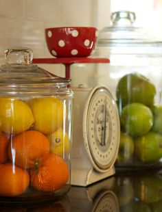 Fruits in jars: I like this bc I read an article on how apples need to be kept away from your other fruits and we always have apples on hand!