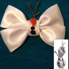 Items similar to Bow inspired by Olaf from Disneys Frozen on Etsy - Bows Hair Ribbons, Ribbon Bows, Disney Diy, Disney Crafts, Diy Hairstyles, Pretty Hairstyles, Disney Hair Bows, Christmas Bows, Christmas Games