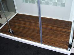 KM - Teak shower floor mat over tiled floor and drain for all standing showers. Shower Pan, Shower Floor, Wood Bathroom, Bathroom Flooring, Bathroom Ideas, Master Bathroom, Teak Shower Mat, Teak Flooring, Flooring Ideas