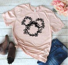 Floral Wreath Mickey, Adult Disney Shirt, Adult tshirt, Minnie Mouse Disney shirt, Red, Black, Disney World, Disneyland