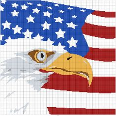 American Eagle with Flag Graph Pattern with Row by Row Counts!