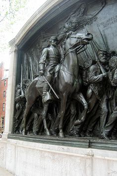 Augustus Saint-Gaudens' memorial to Colonel Robert Gould Shaw and the Massachusetts 54th Regiment