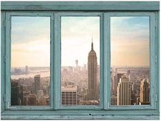 Architectural Skyline Vie... - Peel & Stick Posters Outdoor Walls, Indoor Outdoor, Easy Craft Projects, Early Morning, Empire State Building, Wall Murals, New York City, New York Skyline, Sunrise