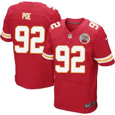 9daae575f Nike Kansas City Chiefs Mens  92 Dontari Poe Elite Red Team Color NFL Jersey