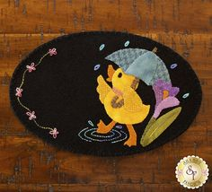 Wooly Mug Mat Series - March Kit available now Penny Rug Patterns, Wool Applique Patterns, Quilt Patterns, Applique Ideas, Applique Quilts, Embroidery Ideas, Felted Wool Crafts, Felt Crafts, Easter Crafts