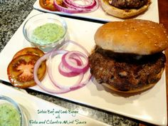 This Sirloin Beef and Lamb Burgers with Feta and Cilantro Mint Sauce a nice change to your standard burger. Great in a grill pan or on the BBQ