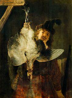 Artist:Rembrandt van Rijn (1606 - 1669) Art style:Baroque Work:Bittern hunter (1639) Size:89 x 121 cm (35,0 x 47,6 inches)