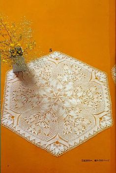 "Photo from album ""Knit Lace Designs"" on Yandex. Knitting Designs, Knitting Patterns Free, Knitting Projects, Lace Doilies, Crochet Doilies, Lace Patterns, Knitting Magazine, Crochet Tablecloth, Rugs"