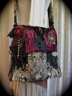 Gypsy Carpet Bag handmade thick upholstery granny by GrandmaDede